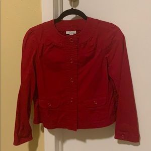 Red long sleeve blouse size small petite